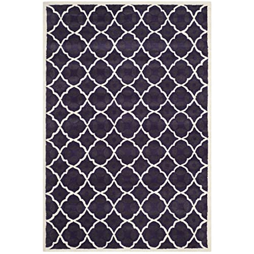 Safavieh Chatham Collection CHT821B Handmade Purple and Ivory Premium Wool Area Rug 6 x 9