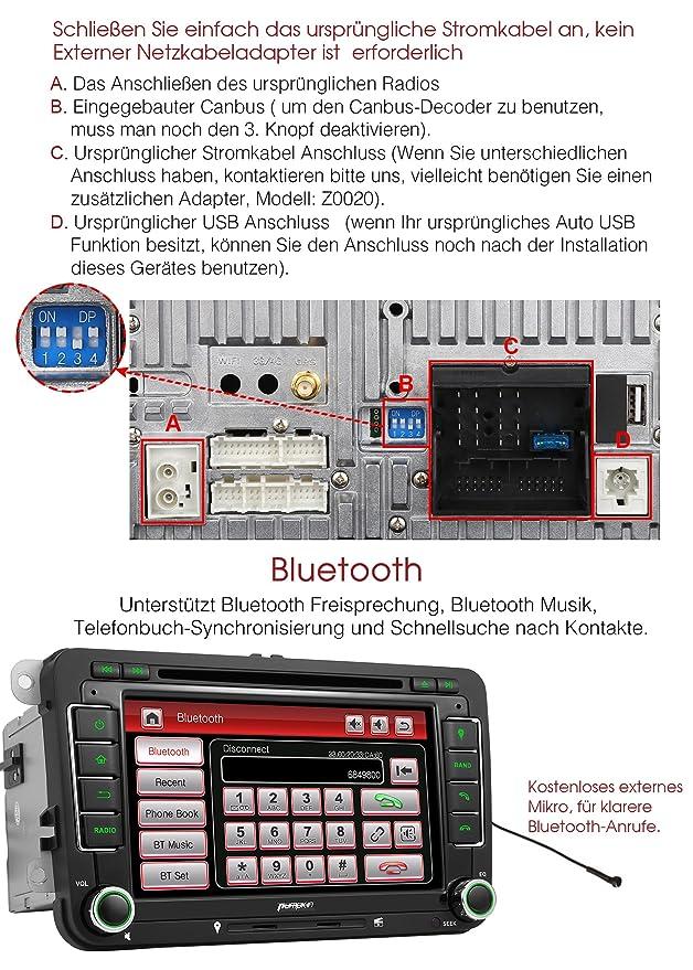 Pumpkin Radio de coche 2 Din para Jetta, Golf, Passat, Polo, Beetle y Touran, con pantalla táctil de 7 pulgadas, navegador GPS, manos libres, Bluetooth, ...
