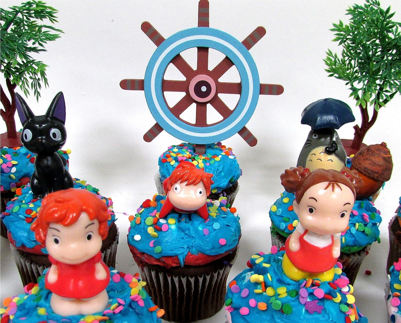 Figures Average 1 to 2 Tall Figures Average 1 to 2 Tall Yubaba Kodoma Decorative Themed Accessories cupcake topper Anime Studio Ghibli Themed Birthday Set Featuring Ponyo Jiji