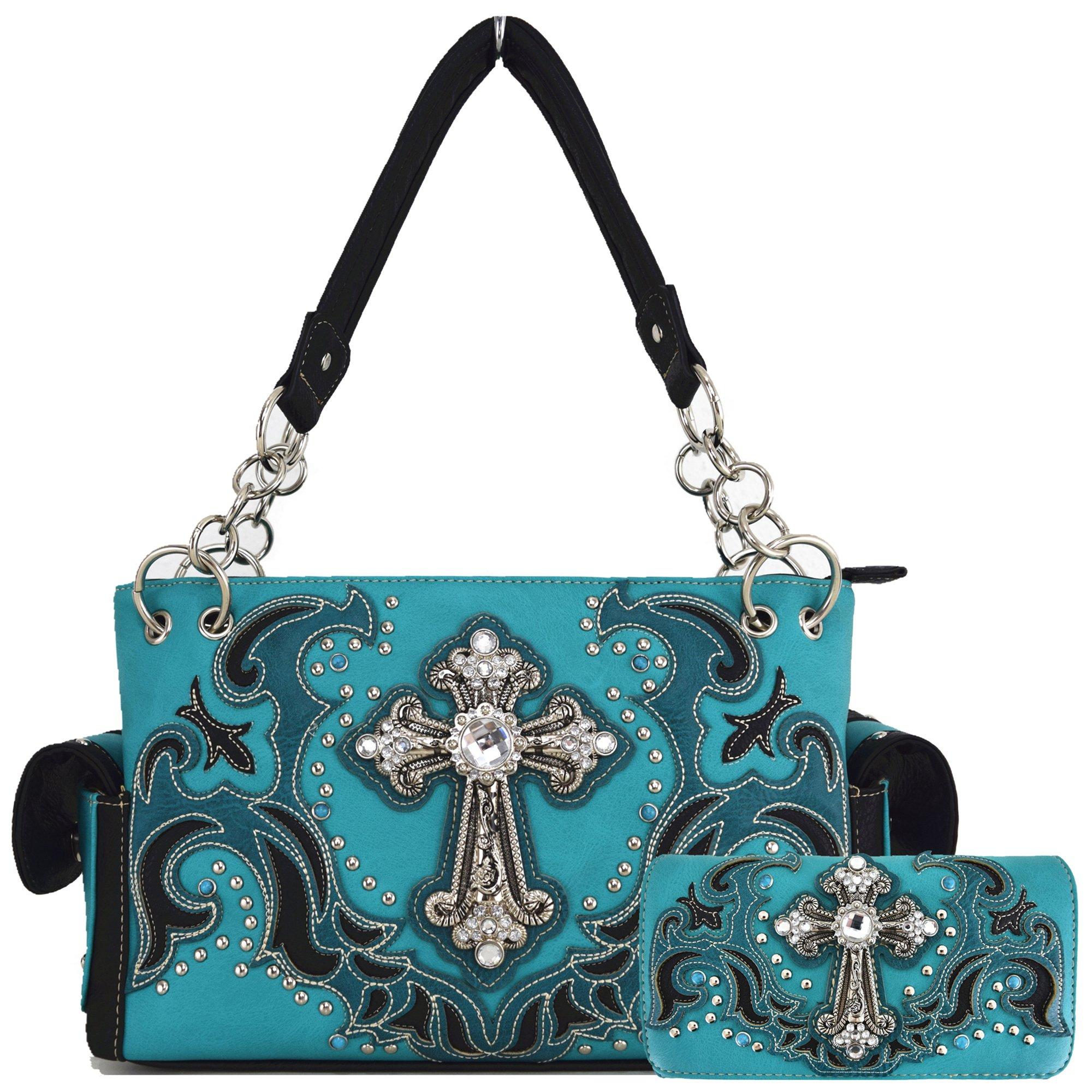 Western Style Rhinestone Cross Stud Concealed Carry Purse Laser Cut Handbag Women Shoulder Bag Wallet Set (Turquoise Set)
