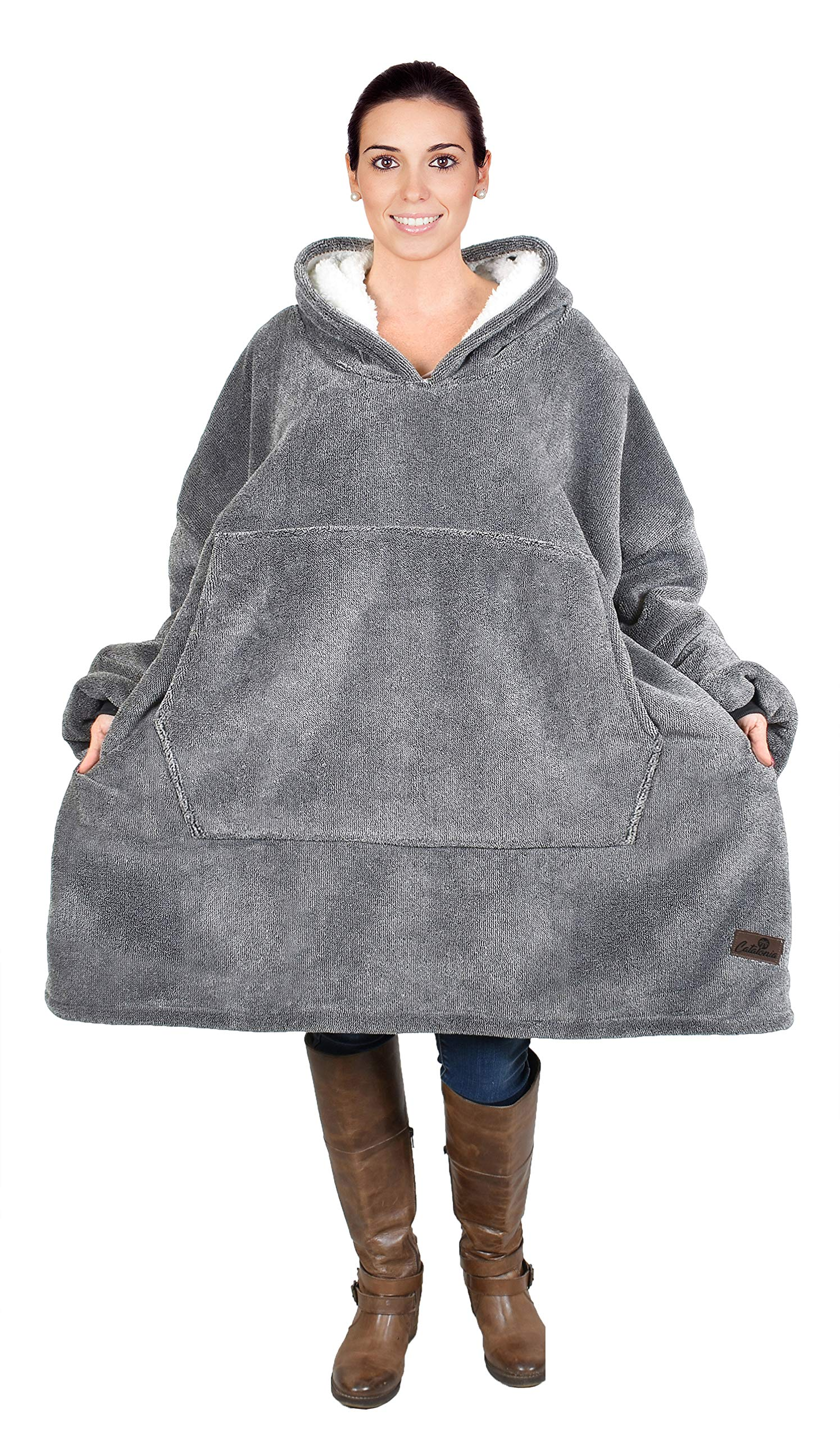 Catalonia Oversized Hoodie Blanket Sweatshirt,Super Soft Warm Comfortable Sherpa Giant Pullover with Large Front Pocket,for Adults Men Women Teenagers Kids, Ash by Catalonia