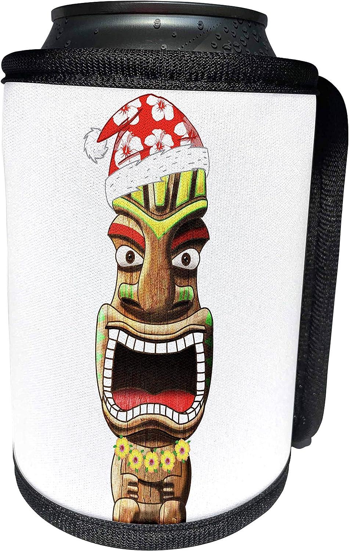 3dRose MacDonald Creative Studios – Mele Kalikimaka - A funny tropical Christmas dsign of a Santa Claus tiki statue. - Can Cooler Bottle Wrap (cc_295391_1)