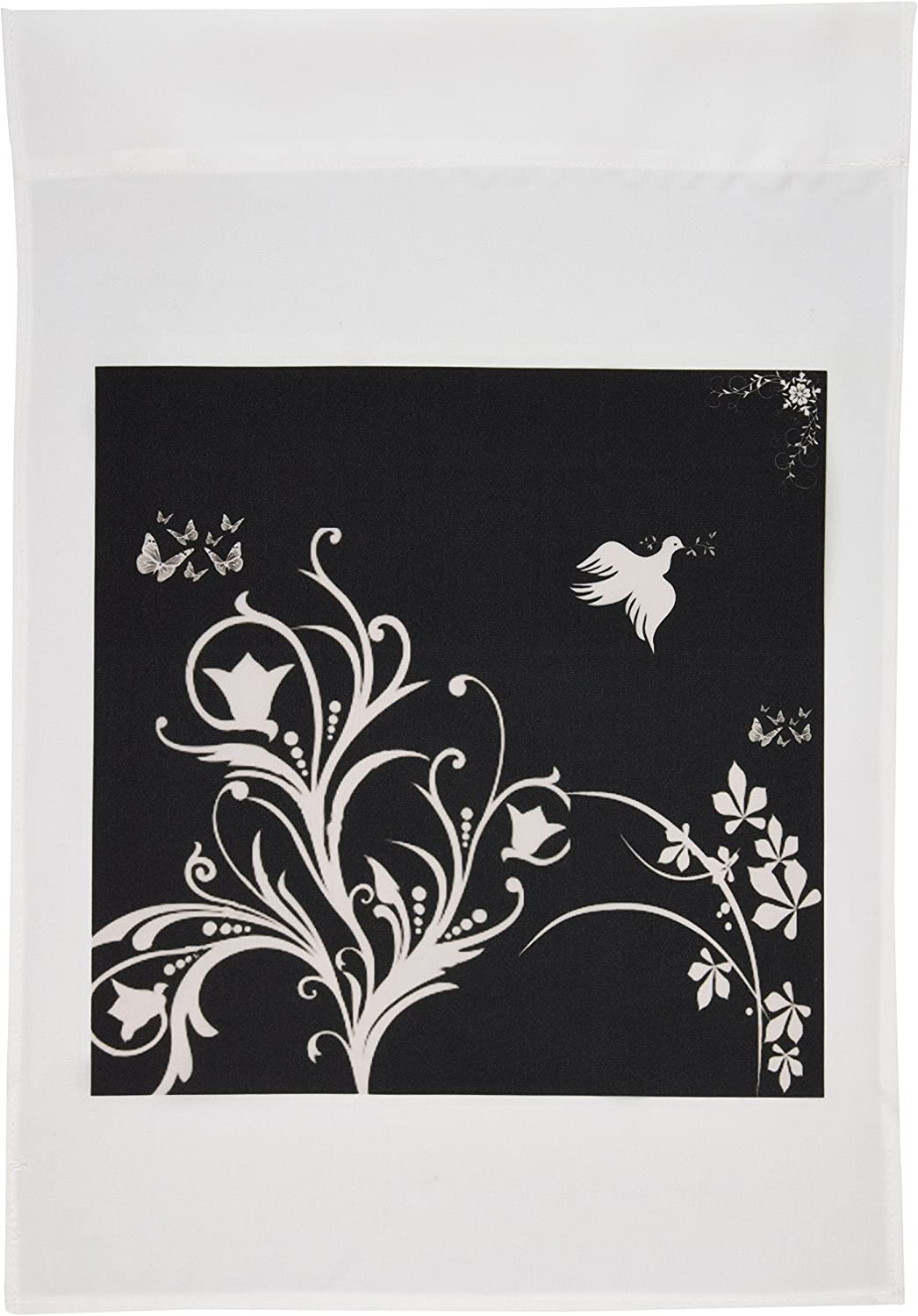 3dRose fl_36120_1 Floral Pattern in White on a Black Background with Dove and Butterflies Garden Flag, 12 by 18-Inch