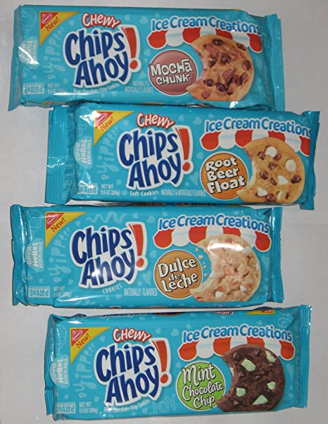 Amazon.com: Nabisco Chewy Chips Ahoy! Variety Pack with All 4 Ice Cream Creations Flavors - Dulce de Leche, Root Beer Float, Mocha Chunk, and Mint Chocolate ...
