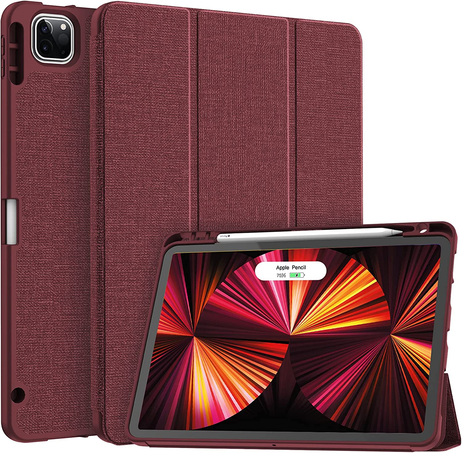 Soke New iPad Pro 11 Case 2021 with Pencil Holder - [Full Body Protection + 2nd Gen Apple Pencil Charging + Auto Wake/Sleep], Soft TPU Back Cover for 2021 iPad Pro 11 inch(Wine)