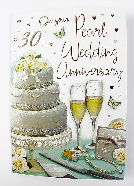 Anniversario 30 Anni Di Matrimonio.Biglietto Di Auguri Per Nozze D Argento Con Scritta In Lingua