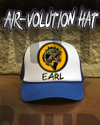 a26e952e Image Unavailable. Image not available for. Color: Personalized Airbrush  Bass Fishing Snapback Trucker Hat