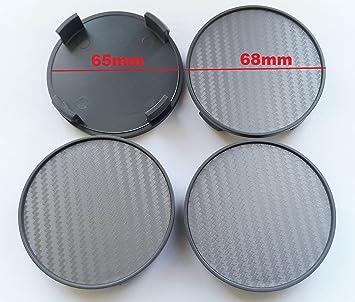 Carbon 4 STK X 68 mm Gris Buje tapas Tapacubos Llanta tapas cilindro de tapa –