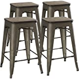 "24"" Counter Height Bar Stools! (RUSTIC GUNMETAL & Wooden Seat) by UrbanMod, [Set Of 4] Stackable, Indoor/Outdoor, Kitchen BarStools,! 330LB Limit, Metal Bar Stools! Industrial, Steel, Counter Stools!"
