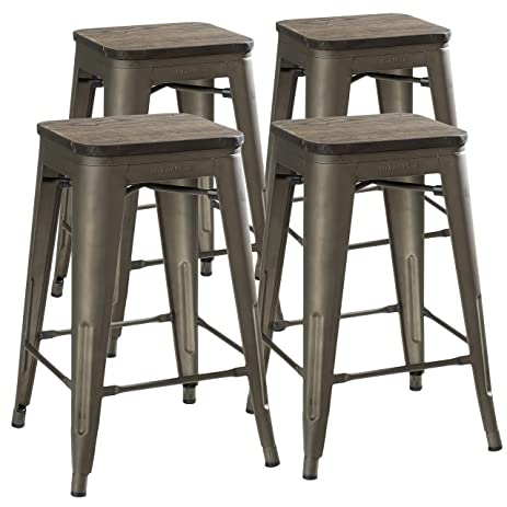 24u0026quot; Counter Height Bar Stools! (RUSTIC GUNMETAL U0026 Wooden Seat) By  UrbanMod