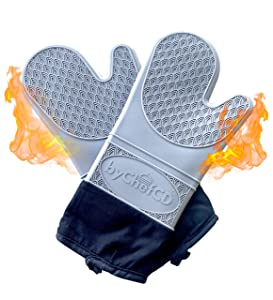 Professional Silicone Oven Mitts / Heat Resistant Gloves (ByChefCD) - Non-Slip Professional Cooking Gloves, Kitchen Potholders And Oven Mitts, Grill Gloves Heat Resistant, Best Oven Mitt (Grey)