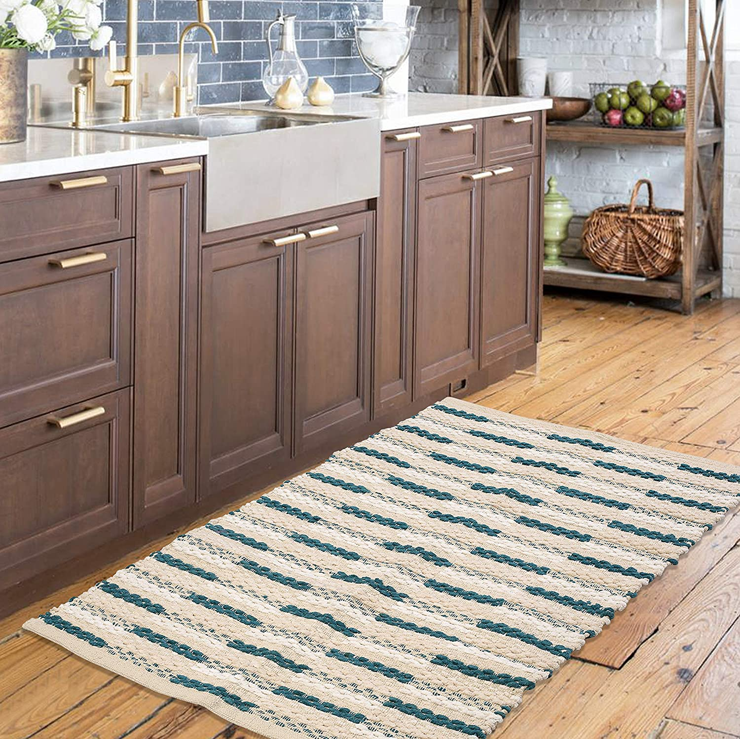 Rugs for Bedroom in Chain Stitch Style 24x36 inch Teal , Farmhouse Kitchen Rugs,Rugs for Living Room,Kitchen Rugs, Entryway Rugs, Cotton Woven Rugs,Absorbent Rugs,Area Rugs
