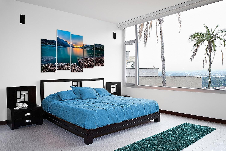 Dekoarte 315 Cuadro moderno en lienzo 1 pieza 120x3x80cm naturaleza puesta de sol en el horizonte entre monta/ñas y lago