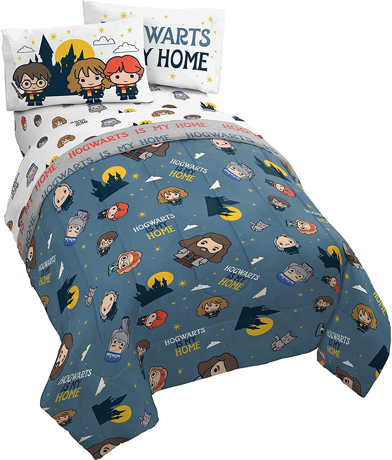 Jay Franco Harry Potter is My Home 5 Piece Full Bed Set, Blue
