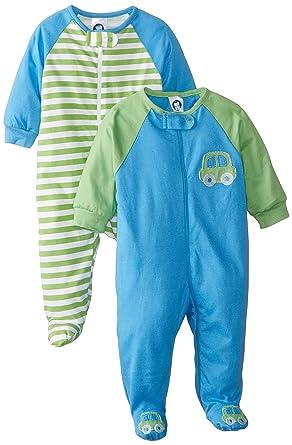 Gerber Baby-Boys Newborn 2 Pack Zip Front, Cars, 3-6 Months