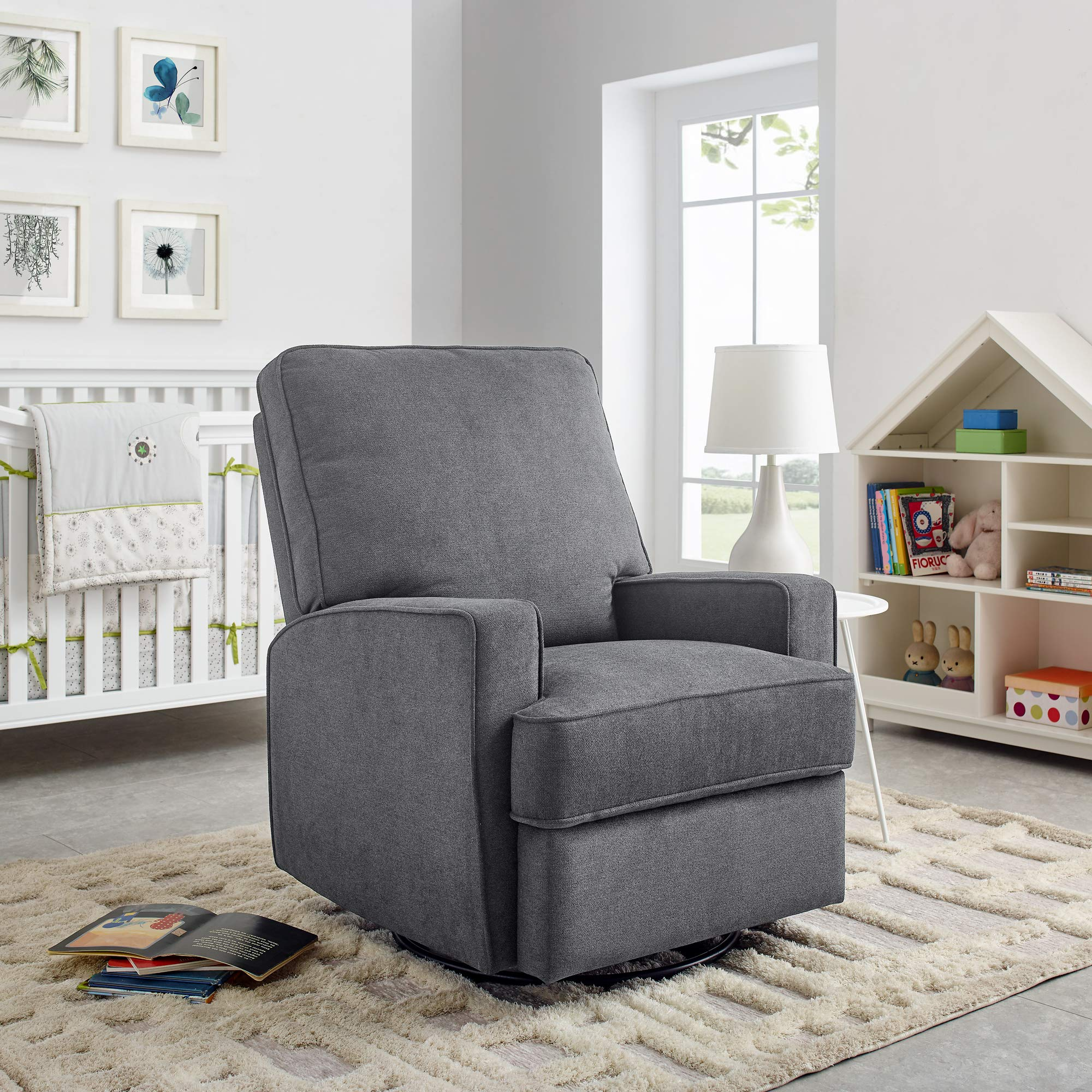 Classic Brands New Town Upholstered Glider Swivel Rocker Chair, Grey by Classic Brands