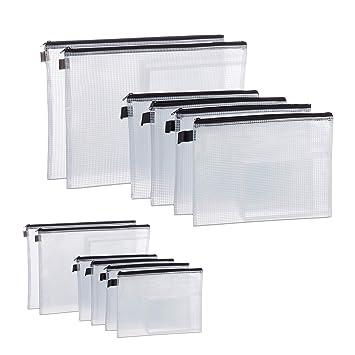 12 x Dokumententasche Zipper Bag Begleitpapiertasche Mesh Dokumentenmappe PVC