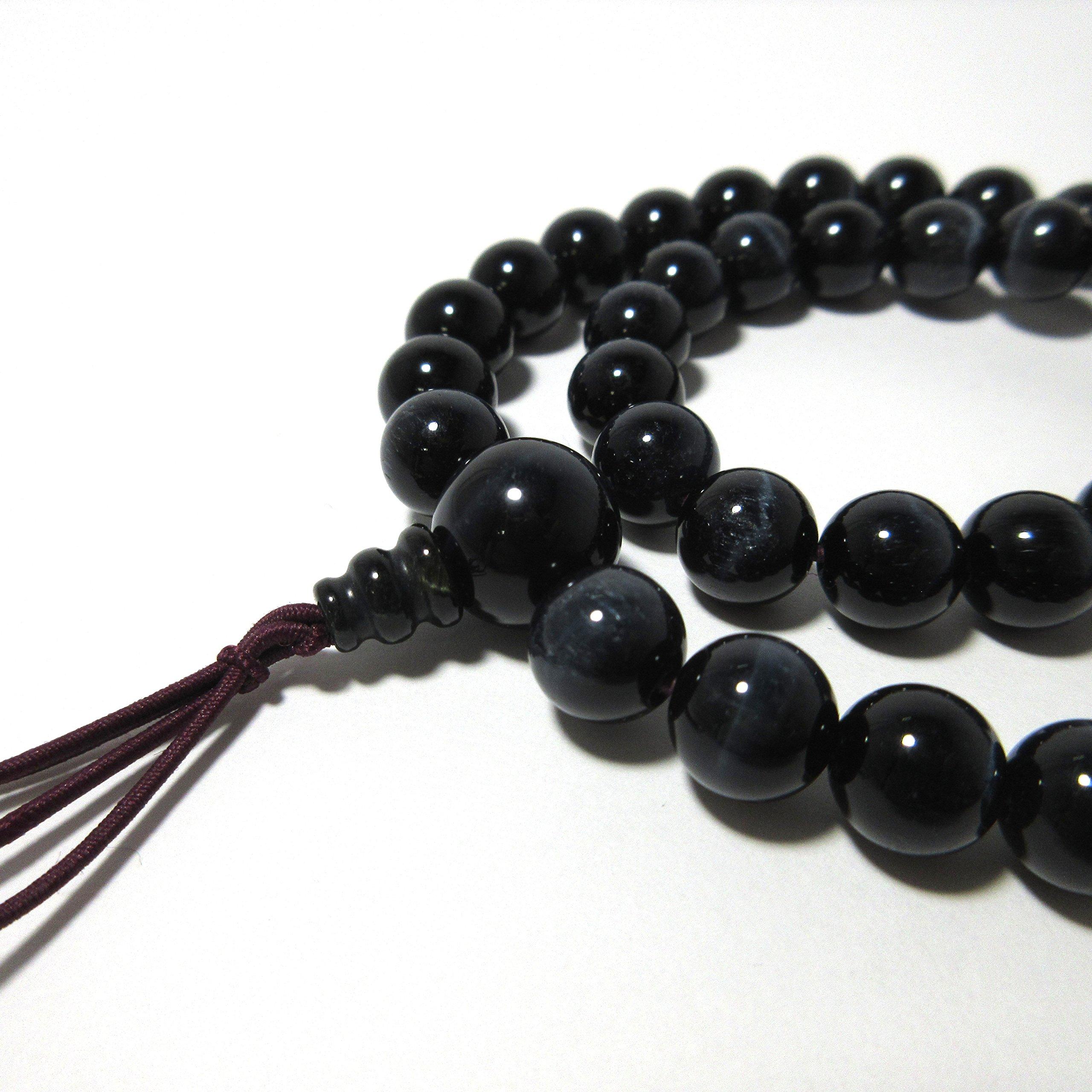 5mm 8mm Beads Blue Brown Tiger Eye Double Bracelet Gemstone Japanese Juzu Prayer Beads Handmade in Kyoto Gift UDA66/69 (Blue, 8)