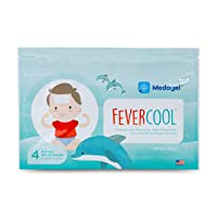 Medagel FeverCool Patches - Cooling Patches for Fever and Headache Relief/Safe to Use with Fever Reducing Medicines/Mess-Free Relief for Kids 2+ and Adults - 1 Pack (4 Patches)