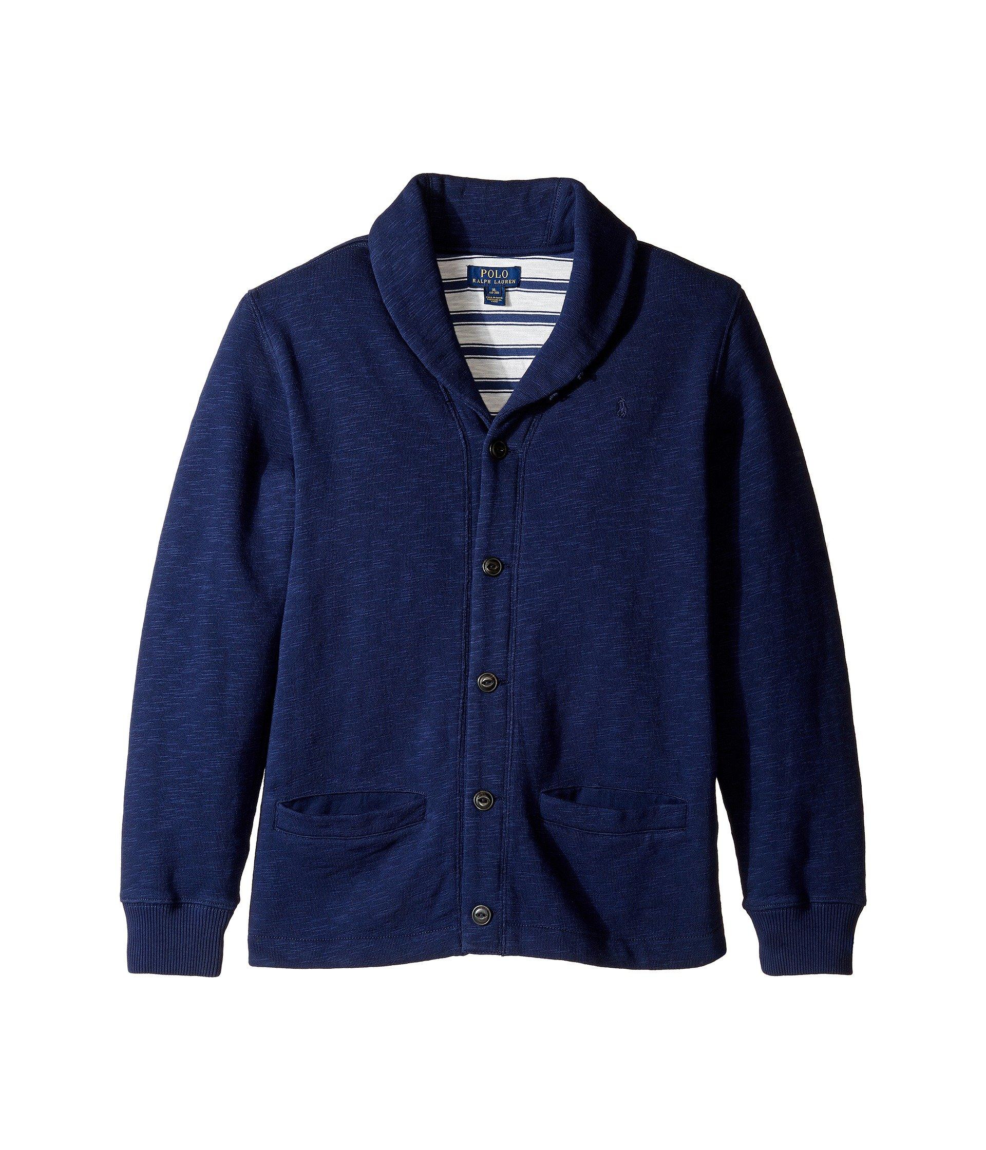 Ralph Lauren Boys Slub Fleece Shawl Collar Cardigan Jacket Small 8 by Ralph Lauren