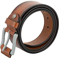 ShopnZ Men's Genuine Leather Belt, Full Grain Leather Belt with Silver metal buckle for Jeans, Pants