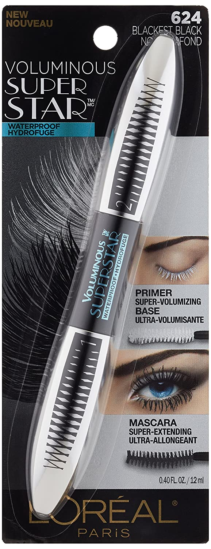 87f53aefbe3 Amazon.com : L'Oréal Paris Cosmetics Voluminous Superstar Waterproof Mascara,  Blackest Black, 1 Tube : Beauty
