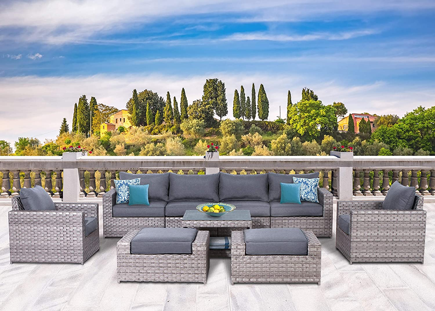 SunHaven Resin Wicker Outdoor Patio Furniture Set - 9 Piece Conversation Sectional Premium All Weather Gray Rattan Wicker, Aluminum Frame with Deluxe Fade Resistant Olefin Cushion (Kensington 9 Pcs)