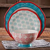 The Pioneer Woman Happiness Rim Scalloped 12-Piece Dinnerware Set, Red
