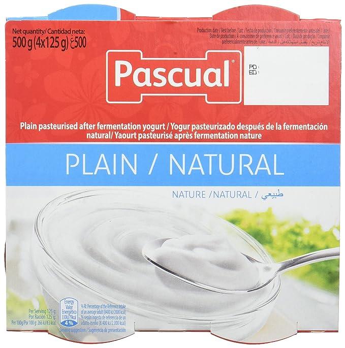 Pascual Yogur Sabor Natural - Paquete de 4 x 125 gr - Total: 500 gr