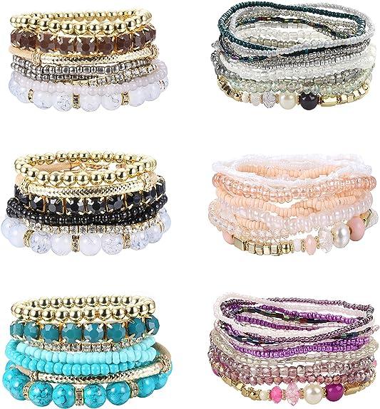 LOYALLOOK Layered Beaded Bracelet Adjustable Charm Pendent Stack Bracelets Wrap Bangle Boho /& Bangles Bracelets Set Jewelry for Women Girl