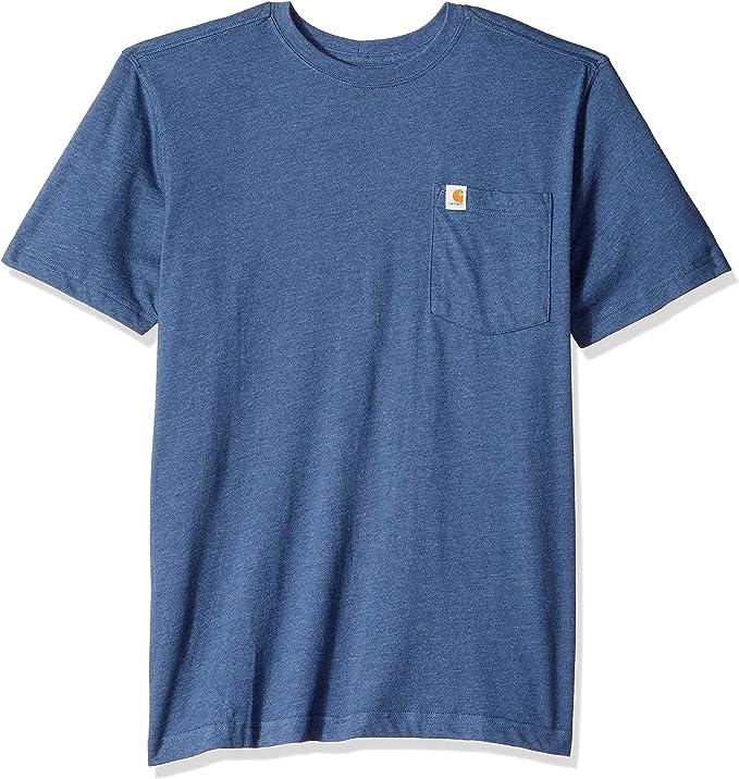 Carhartt Men's Maddock Pocket Short Sleeve T Shirt, Indigo Heather, Medium