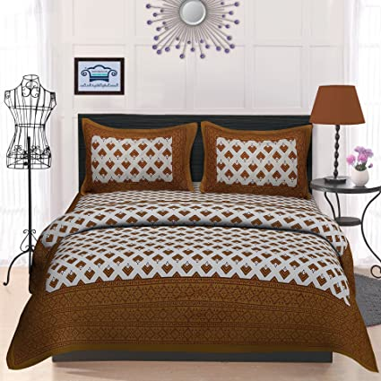 TheUrbanStreet Rich Black Tree Of Life Cotton Bedsheets Double King Size  With 2 Pillow Covers