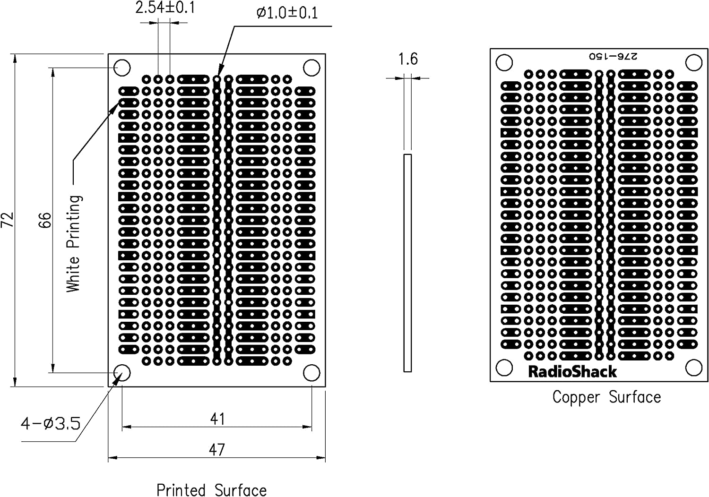 Multipurpose PC Board------#276-150 RADIO SHACK. NOS
