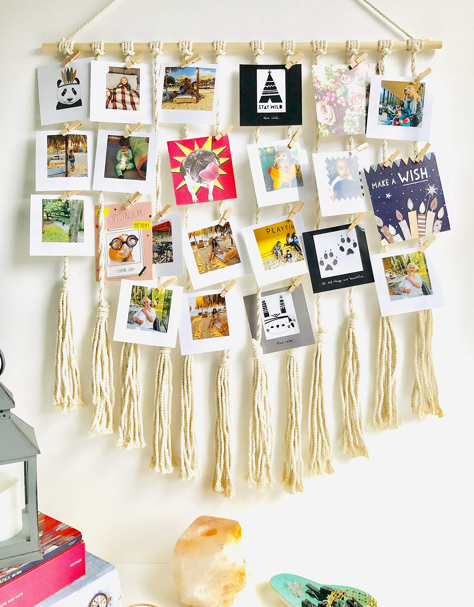 Large Macrame Hanging Photo Display Picture Frames  With 30 Wood Clips Boho Wall Decor For Home, Living Room, Bedroom, Wedding, Ivory