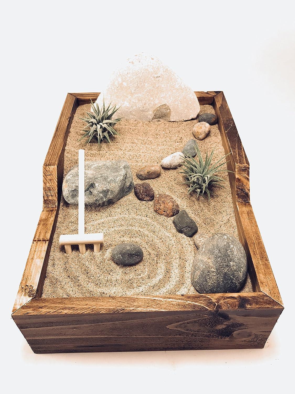 createscape Zen Garden Complete with 2 Tillandsia空気植物、Glacial Stones、禅Rake、クォーツ砂、手作り木製ベース B077C9C7XP