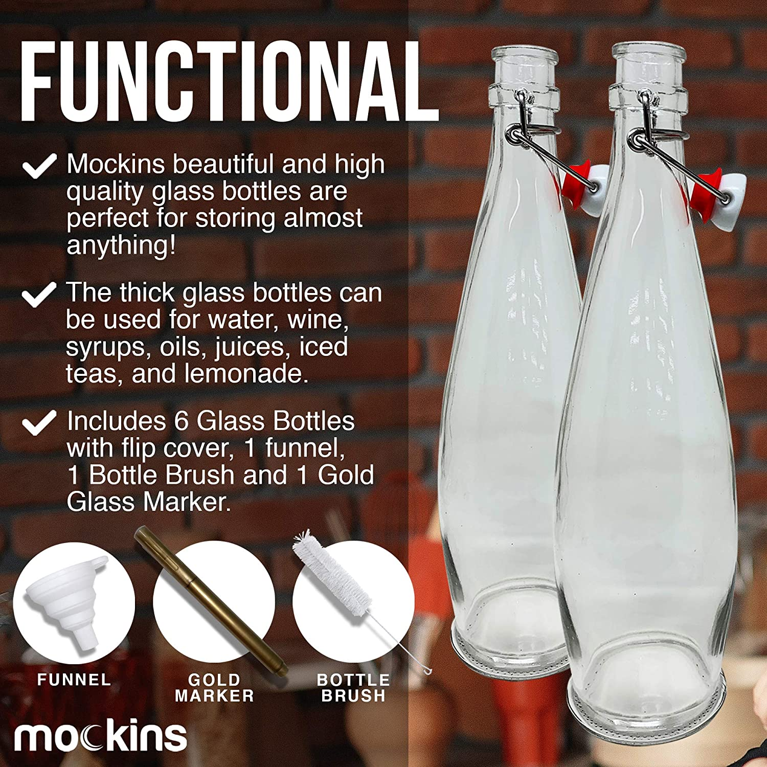 33 Oz Glass Bottle Set with Swing Top Stoppers and Includes Bottle ...