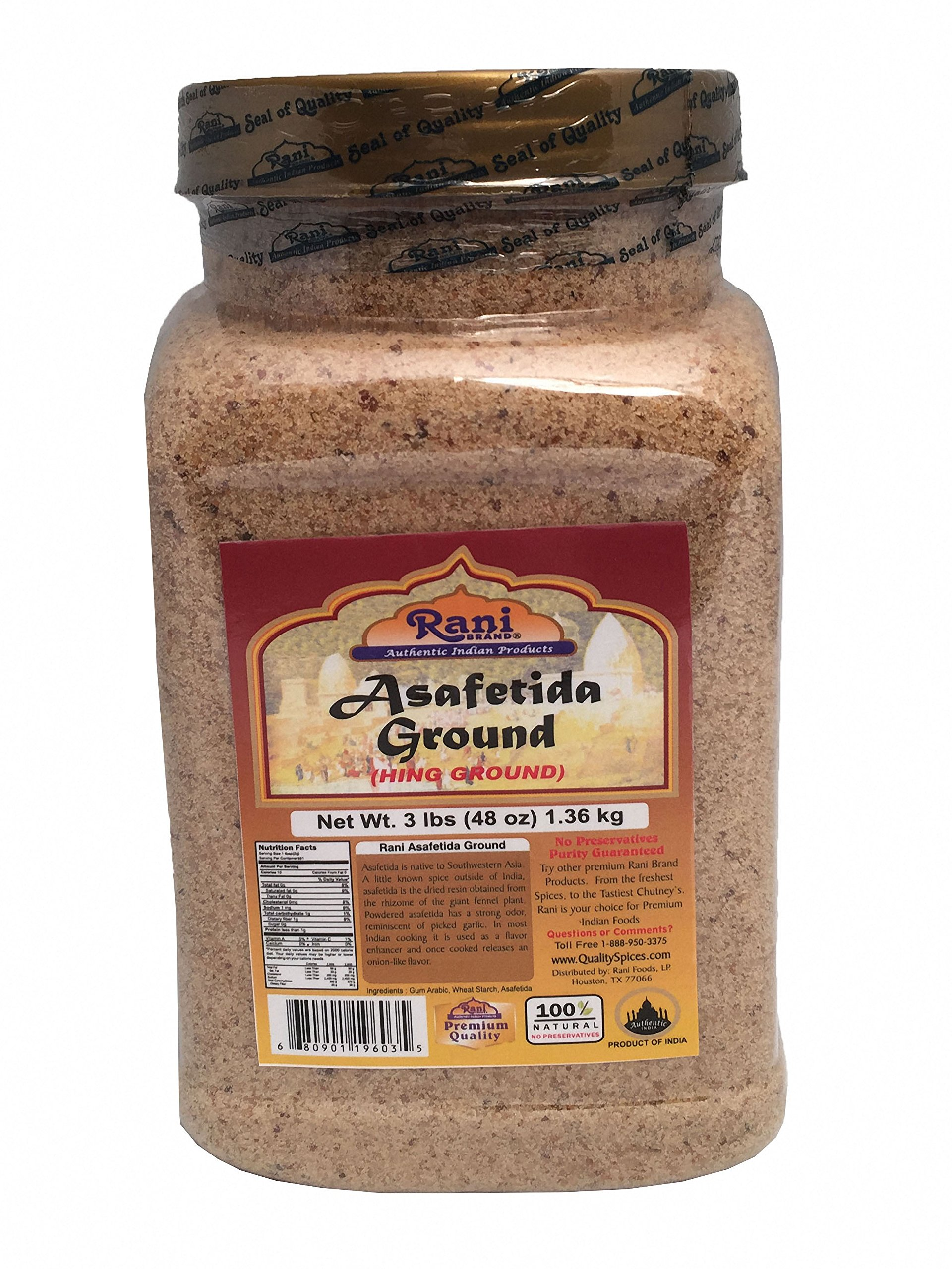 Rani Asafetida (Hing) Ground 3lbs (1.36kg Value Pack) Bulk ~ All Natural | Salt Free | Vegan | NON-GMO | Indian Spice