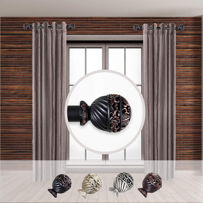 Rod Desyne Lanette 1 - inc Dia. Side Curtain Rod 12-20 inch Long, Set of 2 Black