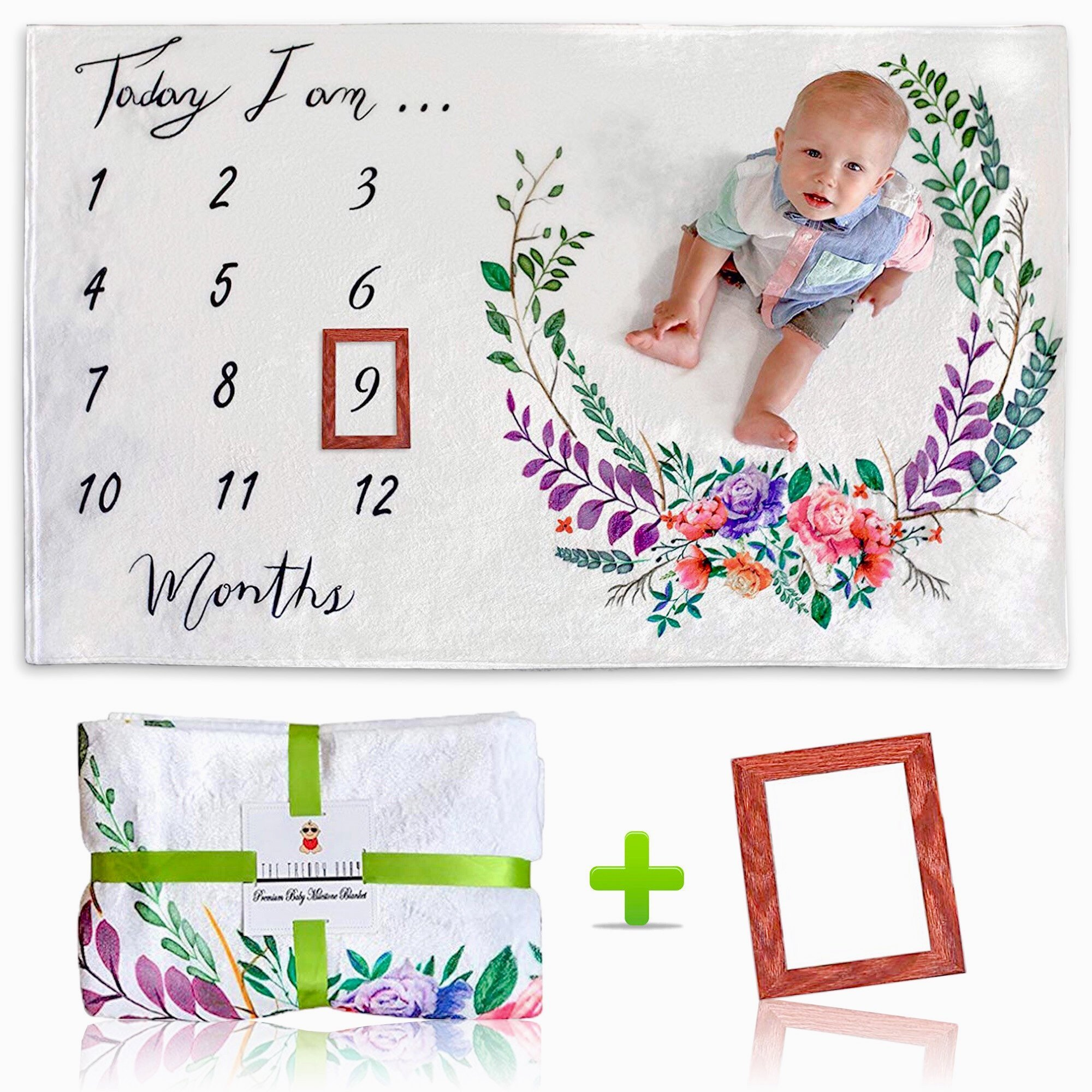 [Upgrade Version] Premium Baby Monthly Milestone Blanket w/Bonus Wooden Style Frame | Thick Soft (Upgraded 250gsm) Fleece Blanket | Large 60x40 Size | Best Newborn or Baby Shower Gift for Boy or Girl