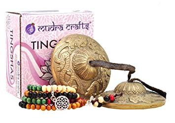 Mudra Crafts Tibetan Handmade Yoga Meditation Om Tingsha Bell Chimes Cymbal Set, Wood Mala with a Mandala Charm (2.5 Inches, Dragon)
