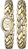 Armitron Women's 75/3901CHGPST Swarovski Crystal Accented Gold-Tone Bracelet and Watch Set