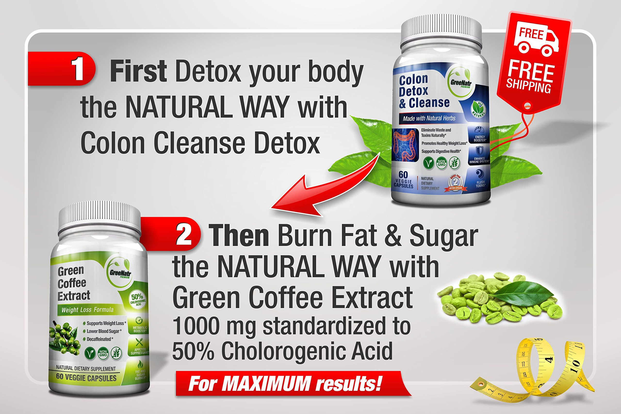 Pure Green Coffee Bean Extract + Colon Cleanse Detox Diet - Weight Loss and Detox Bundle - 480 Veggie Capsules - Gluten Free - Non GMO (6 Months Supply) by GreeNatr (Image #2)