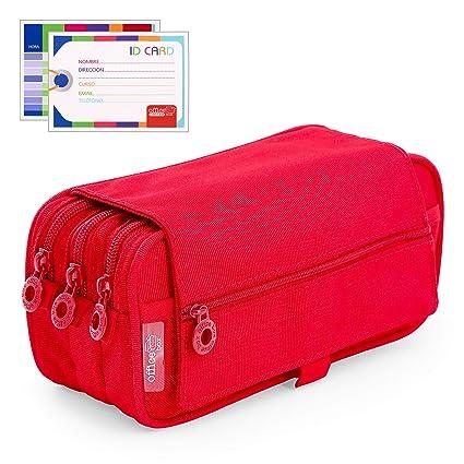Estuche Portatodo Triple de Amplios Apartados Interiores con Tres Cremalleras para Material Escolar o Neceser. Rojo
