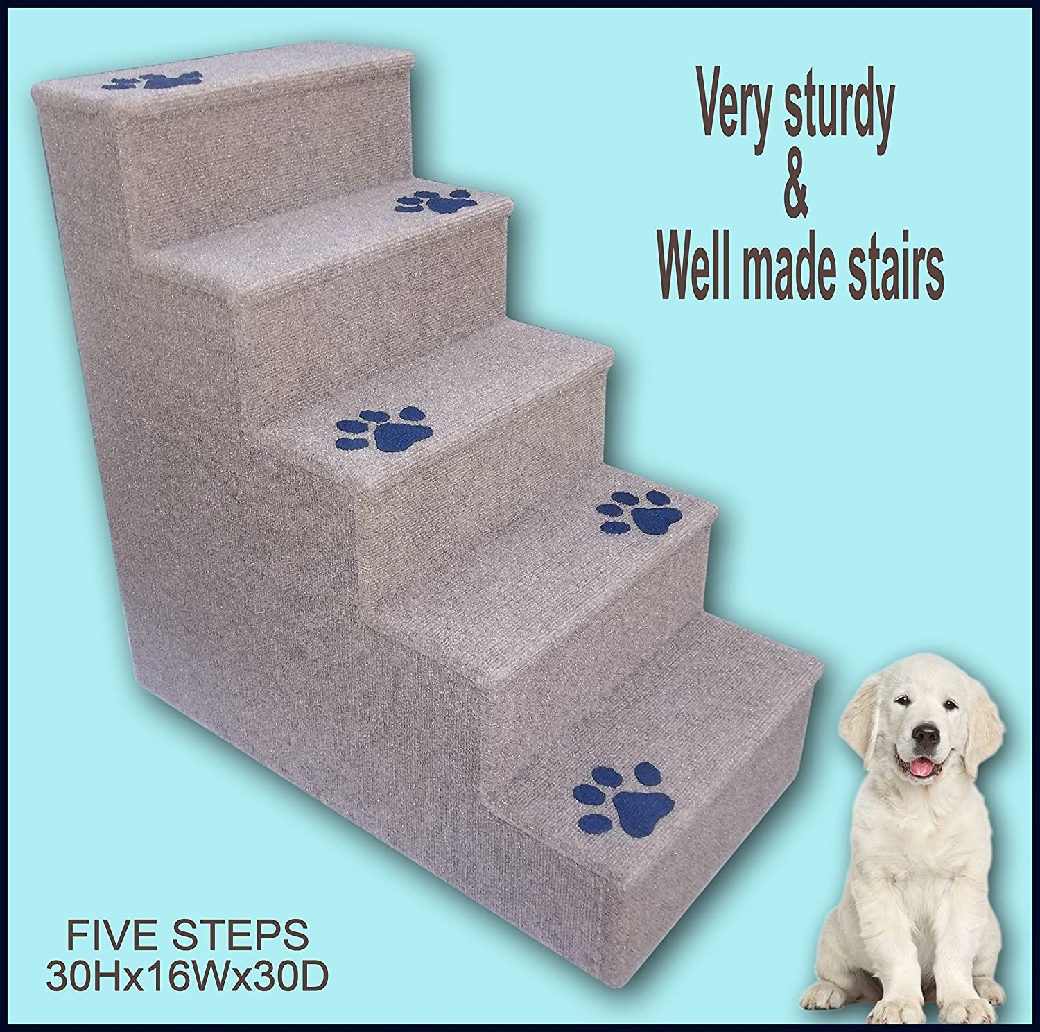 Navarce Dog Steps. Doggy Stairs.Pet Furniture, Dogs Furniture. 30 inches Tall Wooden Dog Steps, pet Stairs