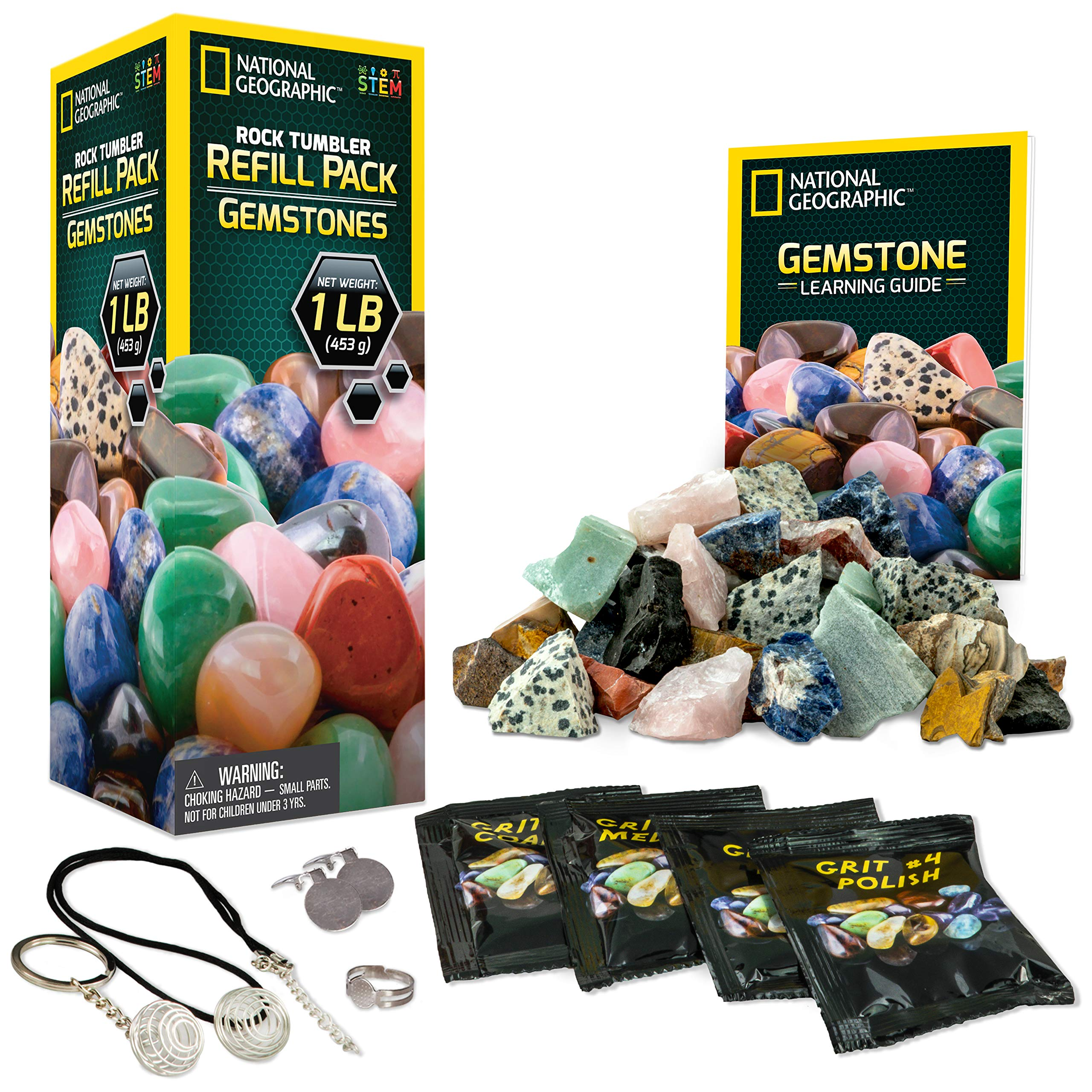 NATIONAL GEOGRAPHIC Rock Tumbler Refill Kit - Gemstone Mix of 9 varieties including Tiger's Eye, Amethyst and Quartz - Comes with 4 grades of Grit, Jewelry Fastenings and detailed Learning Guide by NATIONAL GEOGRAPHIC