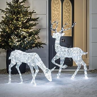 Weihnachtsbeleuchtung Figuren Led.Weihnachtsbeleuchtung Led Acryl Figuren Hirsch Und Reh Innen Außen