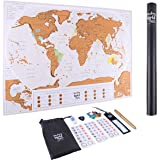 """XL Deluxe Scratch Off Map of the World - US States Outlined - Includes Scratcher, Pins and Memory Stickers - Wondrous World Maps - Large Size Poster 34.6""""X22.8"""" - Best Gift For Travelers"""