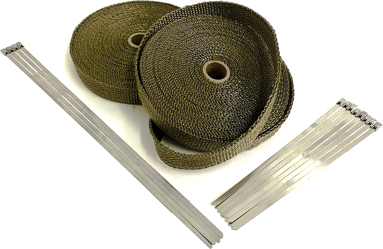 "Exhaust Heat Header Wrap /& Stainless Locking Ties 1//16/"" X 2/"" X 50/' Tan High Temp"
