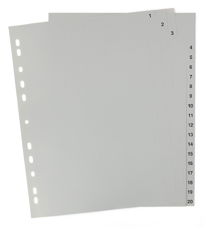 praktischem Deckblatt aus stabilem Papier zum Beschriften volldeckend DIN A4 mit Zahlen 1-20 Trenn-Bl/ätter f/ür die Ordner-Organisation im B/üro 5er Set 20-teiliges Register//Trennbl/ätter aus PP