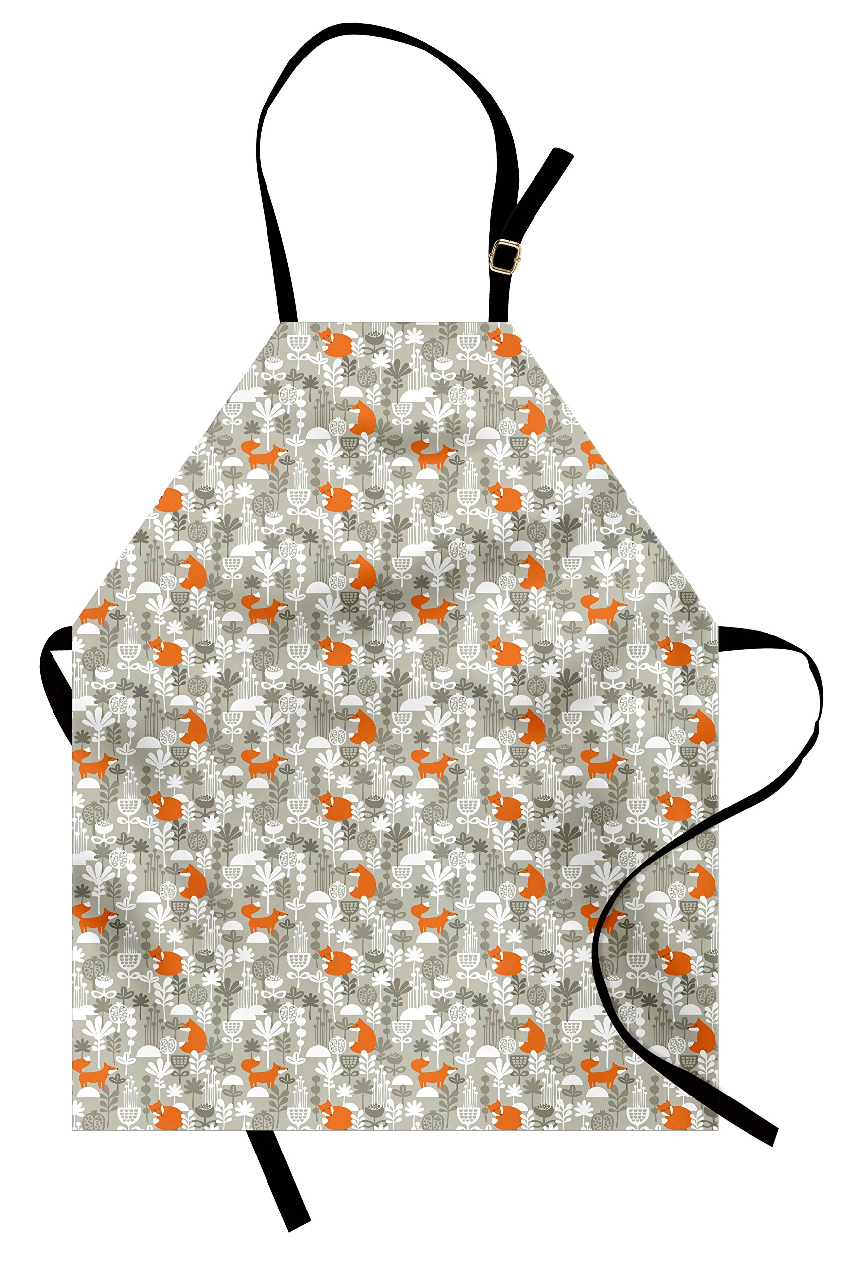Lunarable Autumn Fall Apron, Cute Fox Animal Sleeping in the Forest Plants Woodland Wildlife Theme, Unisex Kitchen Bib Apron with Adjustable Neck for Cooking Baking Gardening, Orange Grey White by Lunarable